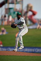 Clinton LumberKings pitcher George Soriano (22) during a Midwest League game against the Great Lakes Loons on July 19, 2019 at Dow Diamond in Midland, Michigan.  Clinton defeated Great Lakes 3-2.  (Mike Janes/Four Seam Images)
