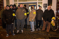 Members of the RMT & TSSA trade Unions go on strike over proposed cuts to station staff on London Underground. 4-2-14 RMT members picket lambeth North Underground station.
