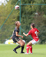 OHL's Janne Geers (14) (L) and Standard's Lola Wajnblum (11)(R) battle for the ball  pictured during a female soccer game between Standard Femina de Liege and Oud Heverlee Leuven on the second matchday of the 2020 - 2021 season of Belgian Scooore Women s SuperLeague , saturday 5 th of September 2020  in Angleur , Belgium . PHOTO SPORTPIX.BE | SPP | SEVIL OKTEM