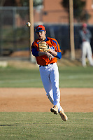 Glenn Bobcats shortstop Gavin Tippett (4) makes a throw to first base during fielding practice prior to the game against the Mallard Creek Mavericks at Dale Ijames Stadium on March 22, 2017 in Kernersville, North Carolina.  The Bobcats defeated the Mavericks 12-2 in 5 innings.  (Brian Westerholt/Four Seam Images)