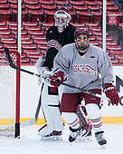 Nic Renyard (UMass - 29), Steven Iacobellis (UMass - 16) - The UMass Minutemen practiced at Fenway Park on Friday, January 6, 2017, in Boston, Massachusetts.