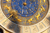 Close up of the clock face on the The Bell Tower - Saint Mark's Square  - Venice Italy