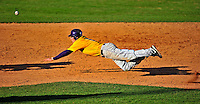 19 April 2009: University at Albany Great Danes' outfielder Brendan Rowland, a Junior from Albany, NY, steals second base during a game against the University of Vermont Catamounts at Historic Centennial Field in Burlington, Vermont. The Great Danes defeated the Catamounts 9-4 in the second game of a double-header. Sadly, the Catamounts are playing their last season of baseball, as the program has been marked for elimination due to budgetary constraints on the University. Mandatory Photo Credit: Ed Wolfstein Photo