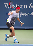 August 17,2018:   Leonardo Mayer (ARG) loses to Roger Federer (SUI) 6-1, 7-6, at the Western & Southern Open being played at Lindner Family Tennis Center in Mason, Ohio.  ©Leslie Billman/Tennisclix/CSM