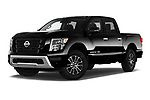Stock pictures of low aggressive front three quarter view of 2020 Nissan Titan SV 4 Door Pick-up Low Aggressive