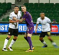 23rd May 2021; HBF Park, Perth, Western Australia, Australia; A League Football, Perth Glory versus Macarthur; Andy Keogh of Perth Glory and Mark Milligan of Macarthur FC grapple for position for the Macarthur cross