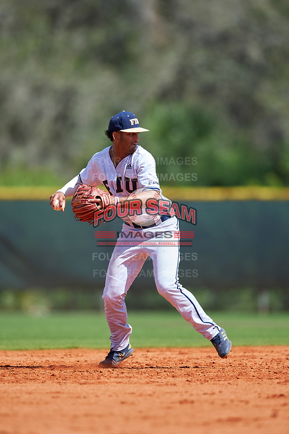 FIU Panthers shortstop John Rodriguez (7) throws to first base during a game against the South Dakota State Jackrabbits on February 23, 2019 at North Charlotte Regional Park in Port Charlotte, Florida.  South Dakota defeated FIU 4-3.  (Mike Janes/Four Seam Images)