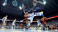 CHAPEL HILL, NC - JANUARY 11: Curran Scott #10 of Clemson University shoots over Brandon Robinson #4 of the University of North Carolina during a game between Clemson and North Carolina at Dean E. Smith Center on January 11, 2020 in Chapel Hill, North Carolina.