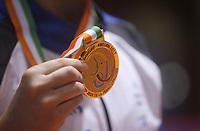 8e Jeux de la Francophonie d'Abidjan 2017 - Finales lutte - Parc des sports de Treichville - Véronica du Canada Québec posse ça médaille d'0R - Abidjan, Côte d'Ivoire - 24 juillet 2017