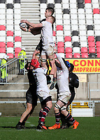 Tuesday 6th March 2019 | Ulster Schools Cup - Semi Final 1<br /> <br /> Jack Stinson and Aaron Woods challenge for this lineout ball during the Ulster Schools cup semi-final between Campbell College Belfast and the Royal School Armagh at Kingspan Stadium, Ravenhill Park, Belfast, Northern Ireland. Photo by John Dickson / DICKSONDIGITAL