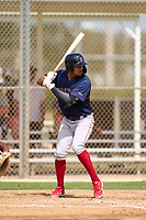 FCL Red Sox Danny Diaz (17) bats during a game against the FCL Twins on July 3, 2021 at CenturyLink Sports Complex in Fort Myers, Florida.  (Mike Janes/Four Seam Images)