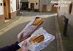 'Selfie,' desert on the go. Riquewihr, Alsace region,