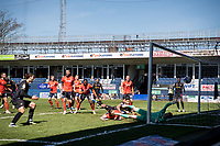 17th April 2021; Kenilworth Road, Luton, Bedfordshire, England; English Football League Championship Football, Luton Town versus Watford; A late Andre Gray of Watford header is ruled out for offside.