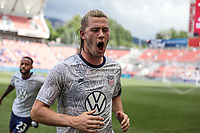 SANDY, UT - JUNE 10: Walker Zimmerman #3 of the United States warming up running through the sprinklers during a game between Costa Rica and USMNT at Rio Tinto Stadium on June 10, 2021 in Sandy, Utah.