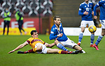Motherwell v St Johnstone…20.02.21   Fir Park   SPFL<br />David Wotherspoon battles with Max Johnston<br />Picture by Graeme Hart.<br />Copyright Perthshire Picture Agency<br />Tel: 01738 623350  Mobile: 07990 594431