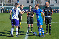 Laura De Neve (8) of Anderlecht , assistant referee Heidi Houtthave , referee Irmgard Van Meirevenne , Chloe Vande Velde (10) of AA Gent and assistant referee Beau Van Vaerenbergh pictured during a female soccer game between  AA Gent Ladies and RSC Anderlecht on the 17th matchday of the 2020 - 2021 season of Belgian Scooore Womens Super League , saturday 20 th of March 2021 in Oostakker , Belgium . PHOTO SPORTPIX.BE | SPP | STIJN AUDOOREN