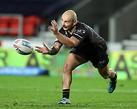20th November 2020; Totally Wicked Stadium, Saint Helens, Merseyside, England; BetFred Super League Playoff Rugby, Saint Helens Saints v Catalan Dragons; Alrix da Costa of Catalan Dragons passes the ball