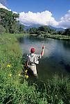 Fly fishing on Depuy's Spring Creek, Montana.