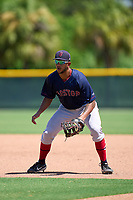 FCL Red Sox first baseman Cuba Bess (49) during practice before a game against the FCL Pirates Gold on August 2, 2021 at Pirate City in Bradenton, Florida.  (Mike Janes/Four Seam Images)