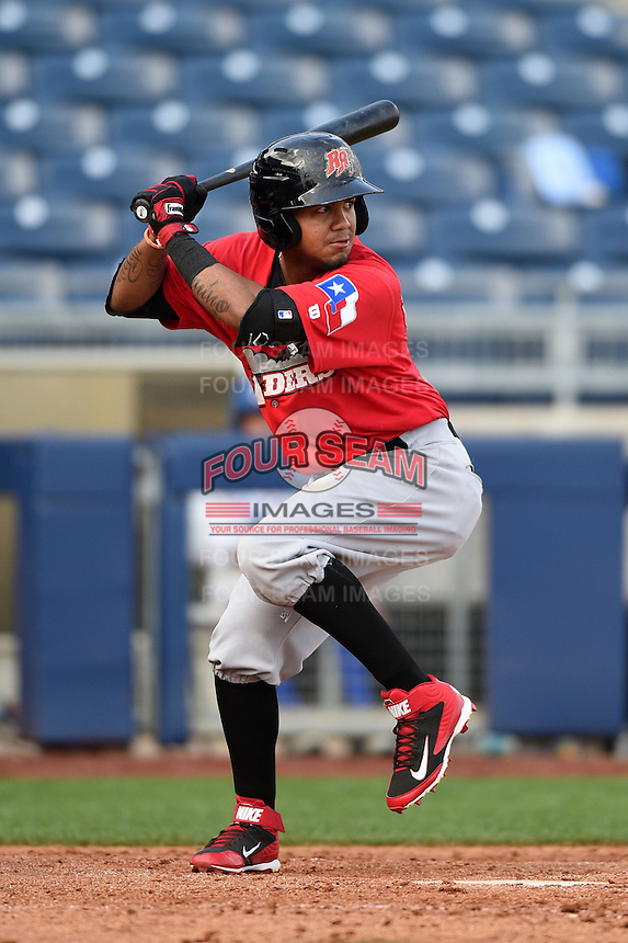 Frisco Rough Riders outfielder Teodoro Martinez (28) at bat during the first game of a doubleheader against the Tulsa Drillers on May 29, 2014 at ONEOK Field in Tulsa, Oklahoma.  Frisco defeated Tulsa 13-4.  (Mike Janes/Four Seam Images)