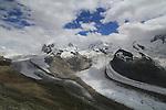 Glacier in the Alps, near the Matterhorn, Zermatt, Switzerland.