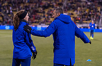 COLUMBUS, OH - NOVEMBER 07: Andi Sullivan #25 and Vlatko Andonovski of the United States talk during a game between Sweden and USWNT at Mapfre Stadium on November 07, 2019 in Columbus, Ohio.