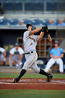 Bradenton Marauders designated hitter Hunter Owen (13) follows through on a swing during a game against the Charlotte Stone Crabs on August 6, 2018 at Charlotte Sports Park in Port Charlotte, Florida.  Charlotte defeated Bradenton 2-1.  (Mike Janes/Four Seam Images)