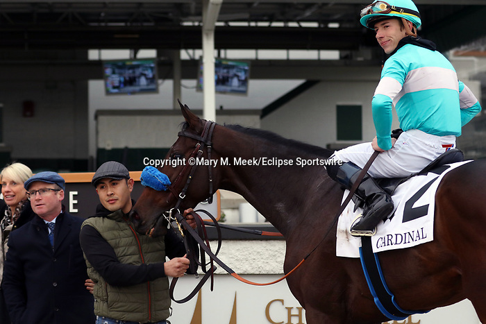 November 28, 2019 : Kallio (#2, Tyler Gaffalione, jockey) wins the G3 Cardinal at Churchill Downs, Louisville, Kentucky. Trainer Brendan P. Walsh, owners Madaket Stables LLC (Sol Kumin and Jason Monteleone), Tim and Anna Cambron, Bradley Thoroughbreds (Peter R. Bradley III). By Scat Daddy x Smokey Diplomacy (Dynaformer), Mary M. Meek/ESW/CSM
