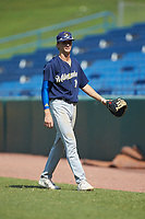 First baseman Bubba Chandler (16) of North Oconee HS in Bogart, GA playing for the Milwaukee Brewers scout team during the East Coast Pro Showcase at the Hoover Met Complex on August 5, 2020 in Hoover, AL. (Brian Westerholt/Four Seam Images)