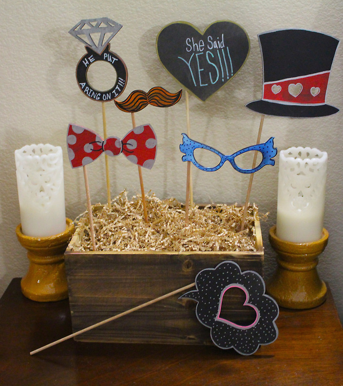 Wooden Wedding Photo Booth Props with Black Chalkboard Finish are hand-crafted and delivered undecorated, unassembled, and ready to personalize.<br /> Each prop is made with quality plywood and black chalkboard paint finish which you can color on with chalk! They are durable yet lightweight props, which can be reused for future events.