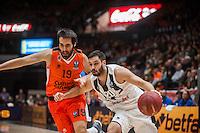 VALENCIA, SPAIN - JANUARY 6: Fernando San Emeterio and Uros Duvnjak during EUROCUP match between Valencia Basket and PAOK Thessaloniki at Fonteta Stadium on January 6, 2015 in Valencia, Spain