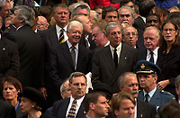 Montreal (qc) CANADA - Oct 3rd 2000 file Photo- Funeral of former Canadien Prime Minister Pierre Eliott Trudeau : Jimmy Carter, Leonard Cohen<br /> <br /> PHOTO : Agence Quebec Presse - Pierre Roussel