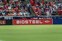 HOUSTON, TX - JUNE 13: BioSteel signage during a game between Jamaica and USWNT at BBVA Stadium on June 13, 2021 in Houston, Texas.