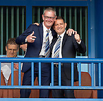 St Johnstone v FC Minsk...01.08.13 Europa League Qualifier at Neman Stadium, Grodno, Belarus...<br /> A very happy Chairman Steve Brown with fellow Director Stan Harris<br /> Picture by Graeme Hart.<br /> Copyright Perthshire Picture Agency<br /> Tel: 01738 623350  Mobile: 07990 594431