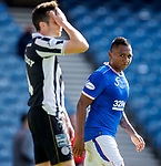 Rangers v St Mirren:  Alfredo Morelos looks over to St Mirren's Joe Shaughnessey as he scores his second goal of the match