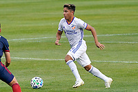 CHICAGO, UNITED STATES - AUGUST 25: Frankie Amaya #24 of FC Cincinnati dribbles the ball during a game between FC Cincinnati and Chicago Fire at Soldier Field on August 25, 2020 in Chicago, Illinois.