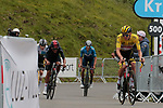 Yellow Jersey Tadej Pogacar (SLO) UAE Team Emirates leads Richard Carapaz (ECU) Ineos Grenadiers, Jonas Vingegaard (DEN) Jumbo-Vismaand Enric Mas Nicolau (ESP) Movistar Team up the final climb of Luz-Ardiden during Stage 18 of the 2021 Tour de France, running 129.7km from Pau to Luz-Ardiden, France. 15th July 2021.  <br /> Picture: Colin Flockton   Cyclefile<br /> <br /> All photos usage must carry mandatory copyright credit (© Cyclefile   Colin Flockton)