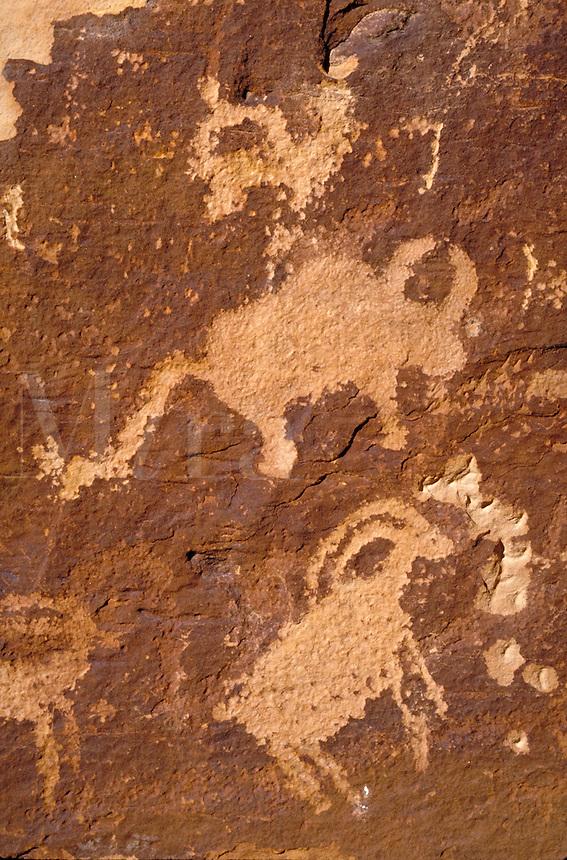 Fremont Indian rock art, Petroglyphs. Utah USA Nine-Mile Canyon.