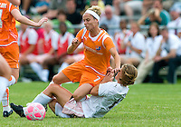 Sky Blue FC midfielder Kelly Parker (7) falls on top of St. Louis Athletica Elise Weber (12) during a WPS match at Anheuser-Busch Soccer Park, in St. Louis, MO, June 7 2009.  Athletica won the match 1-0.