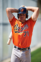 Baltimore Orioles Collin Woody (71) on deck during a minor league Spring Training game against the Minnesota Twins on March 17, 2017 at the Buck O'Neil Baseball Complex in Sarasota, Florida.  (Mike Janes/Four Seam Images)