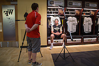 Wake Forest Demon Deacons pitcher Ben Casstevens is interviewed by WXII television at David F. Couch Ballpark on February 24, 2017 in  Winston-Salem, North Carolina.  (Brian Westerholt/Four Seam Images)