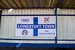 Lowestoft Town 2 Barrow 3, 25/04/2015. Crown Meadow, Conference North. Barrow make the six-hour trip to Suffolk needing a win to secure the title. A Lowestoft Town flag. Photo by Simon Gill.