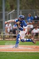 Pitt Panthers catcher Riley Wash (33) throws down to second base during the teams opening game of the season against the Indiana State Sycamores on February 19, 2021 at North Charlotte Regional Park in Port Charlotte, Florida.  (Mike Janes/Four Seam Images)