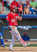 3 March 2016: Washington Nationals outfielder Bryce Harper in action during a Spring Training pre-season game against the New York Mets at Space Coast Stadium in Viera, Florida. The Nationals defeated the Mets 9-4 in Grapefruit League play. Mandatory Credit: Ed Wolfstein Photo *** RAW (NEF) Image File Available ***