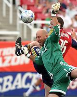 Matt Reis defends the goal against Kenny Deuchar (16) in the 1-2 RSL win at Rice Eccles Stadium in Salt Lake City, Utah on  June 21, 2008.