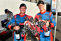 #98 Byan Herta Autosport W Curb-Agajanian Hyundai Veloster N TCR, TCR: Mark Wilkins, Michael Lewis celebrate the win trophy, champagne and stuffed bears