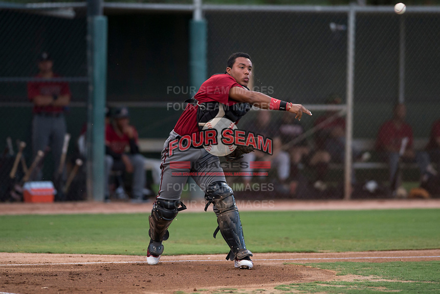 AZL Diamondbacks catcher Douglas Lanza (26) throws to first base during an Arizona League game against the AZL White Sox at Camelback Ranch on July 12, 2018 in Glendale, Arizona. The AZL Diamondbacks defeated the AZL White Sox 5-1. (Zachary Lucy/Four Seam Images)