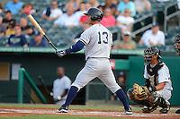 Tampa Yankees second baseman Robert Refsnyder (13) during a game against the Jupiter Hammerheads on July 17, 2013 at Roger Dean Stadium in Jupiter, Florida.  Jupiter defeated Tampa 4-3.  (Mike Janes/Four Seam Images)