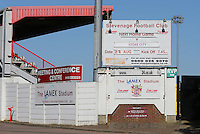 A large sign outside the ground promotes the match during Stevenage vs Stoke City, EFL Cup Football at the Lamex Stadium on 23rd August 2016