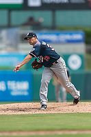 Reno Aces starting pitcher Anthony Vasquez (33) pitching during a game against the Fresno Grizzlies at Chukchansi Park on April 8, 2019 in Fresno, California. Fresno defeated Reno 7-6. (Zachary Lucy/Four Seam Images)